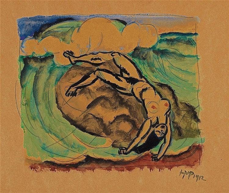 Hermann Max Pechstein, Weiblicher Akt am Meer, 1912