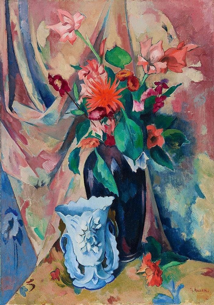 Heinrich Nauen, Blumenstilleben mit heller Vase, Circa 1920