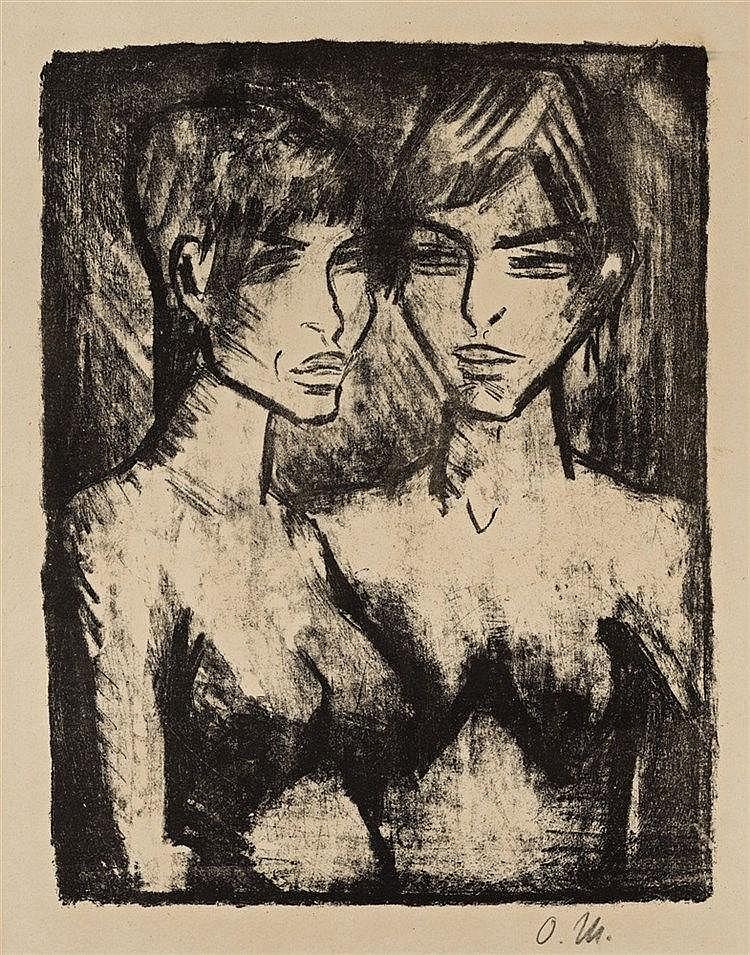Otto Mueller, Zwei Mädchen-Halbakte (Russisches Mädchenpaar), 1920