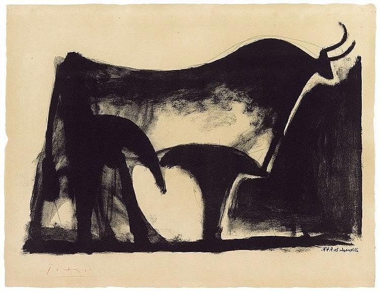 Pablo Picasso, Le taureau noir, 1947