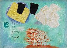 Willi Baumeister, Lyrik mit Kammzug auf Blau-Grün, 1954