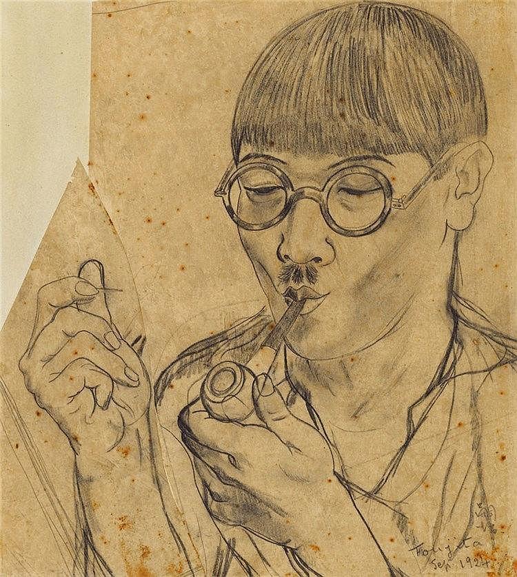 Léonard-Tsuguharu Foujita, Autoportrait à la pipe, 1924