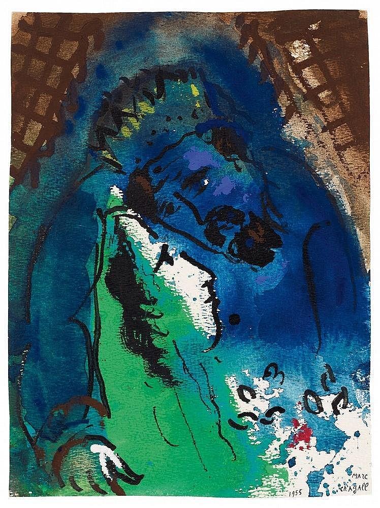 Marc Chagall, Les Amoureux IV (Roi David), 1955