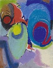 Max Ackermann, Thema dreimal - Zwischenthema - bewegte Akzentachse, 1958