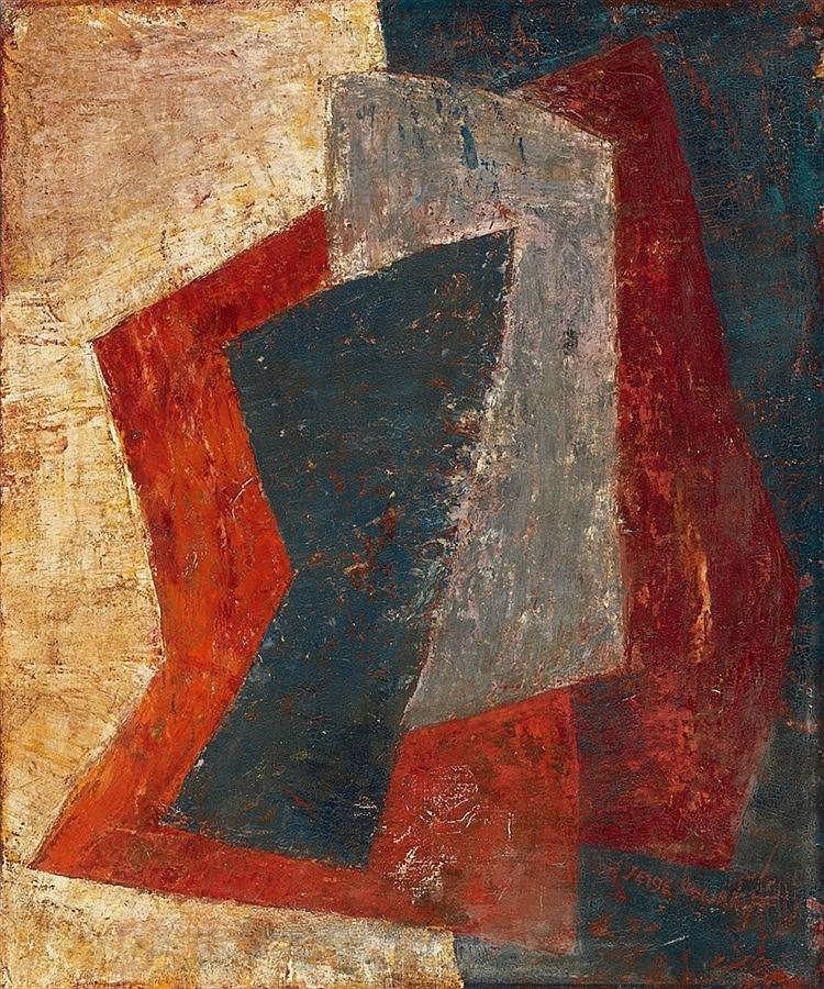 Serge Poliakoff, Composition Rouge orange gris bleu, Circa 1952