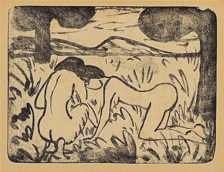 Otto Mueller, Hockendes und kniendes Mädchen, Circa 1912
