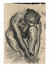 Franz Marc, Vornübergebeugt kauernder weiblicher Akt, 1904/1906