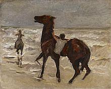 Max Liebermann, Pferdeknechte am Strand, Circa 1909