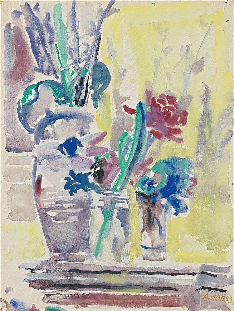 Anton Räderscheidt, Blumenstillleben, 1953
