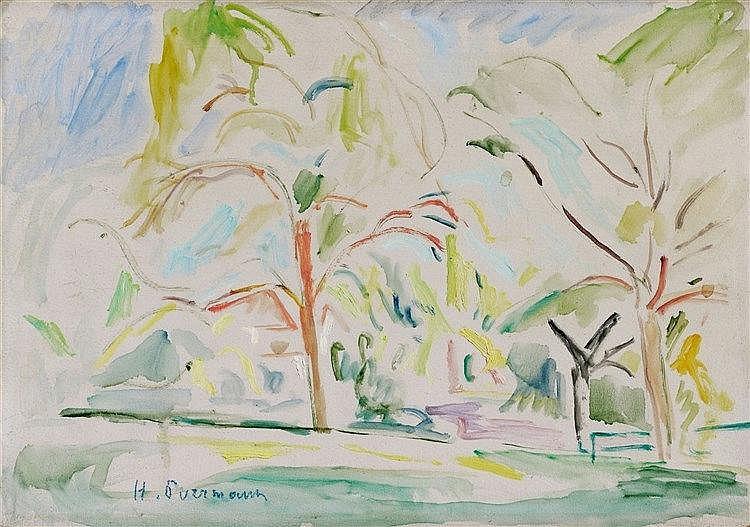 Hans Purrmann, Bodenseelandschaft mit Bäumen, Circa 1920/1925