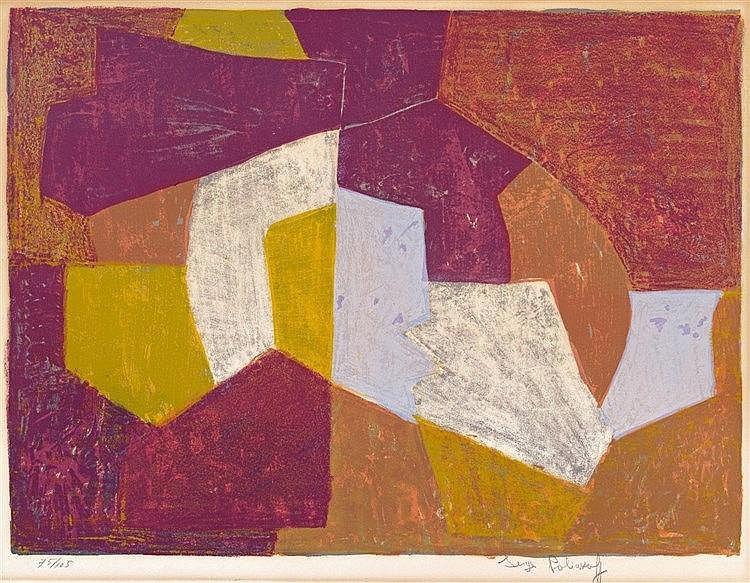 Serge Poliakoff, Composition carmin, brune, jaune et grise, 1956