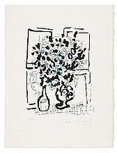 MARC CHAGALL, Le bouquet noir et bleu,  1957