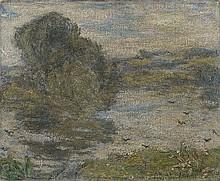 EDMOND AMAN-JEAN, Paysage avec étang (Bourg-en-Bresse), c. 1923