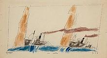 LYONEL FEININGER, Zwo Frachter,  1936