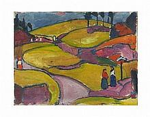 HERMANN STENNER, Rhythmische Landschaft (Eifel). Verso Sketch for Self Portrait,  1912