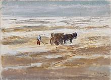 MAX LIEBERMANN, Muschelfischer mit Karren (Krevettenfischer am Strand), c. 1908