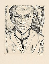 MAX BECKMANN, Selbstbildnis von vorn, im Hintergrund Hausgiebel,  1918