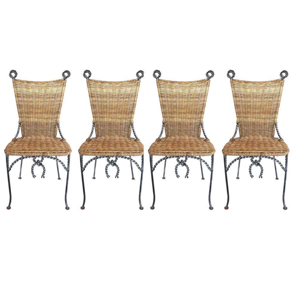 Sold Price Four Wrought Iron And Wicker Chairs Invalid Date Pst