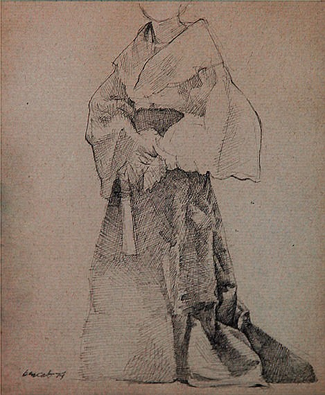 Benedicto Cabrera (1942) (a.) Filipino Dress Study 1 & (b.) Filipino Dress Study 2