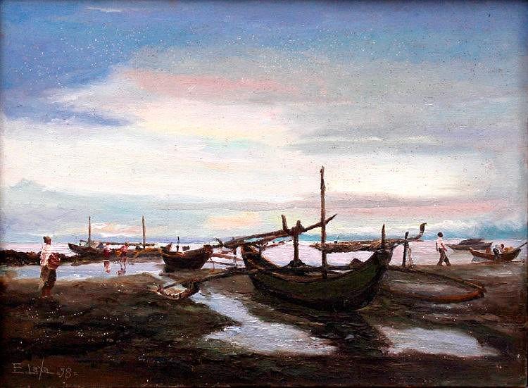 Elias Laxa (1904 - 1990)  Beachscape  sign