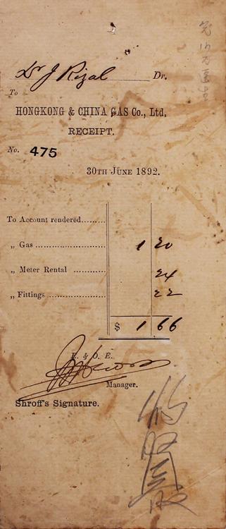 José Rizal (1861-1896)  HongKong Gas Receipt