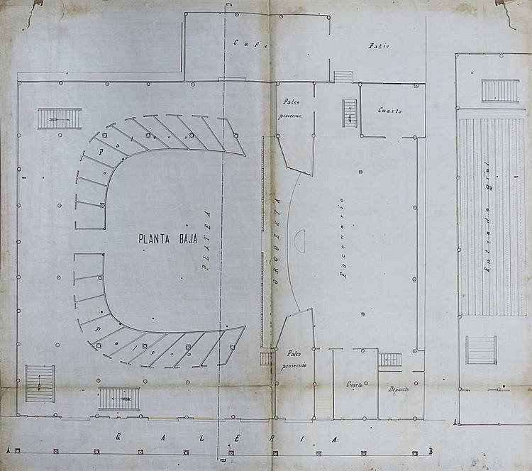 a.) Hand Drawn Architectural Plan Of A Theatre In Manila