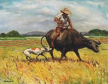 Carlos Valino (b.1926)    Man on Carabao