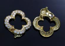 Van Cleef & Arpels 18K gold and diamond pave earrings