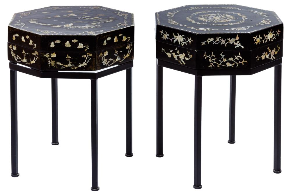 Asian Style Mother of Pearl Inlaid Box Tables