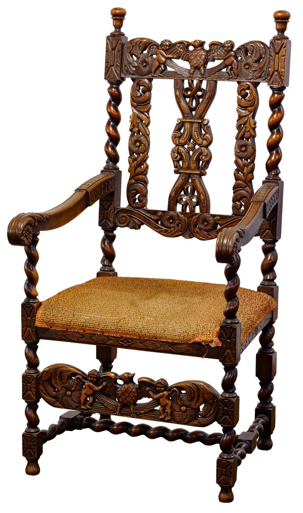 Carved Renaissance Revival Armchair