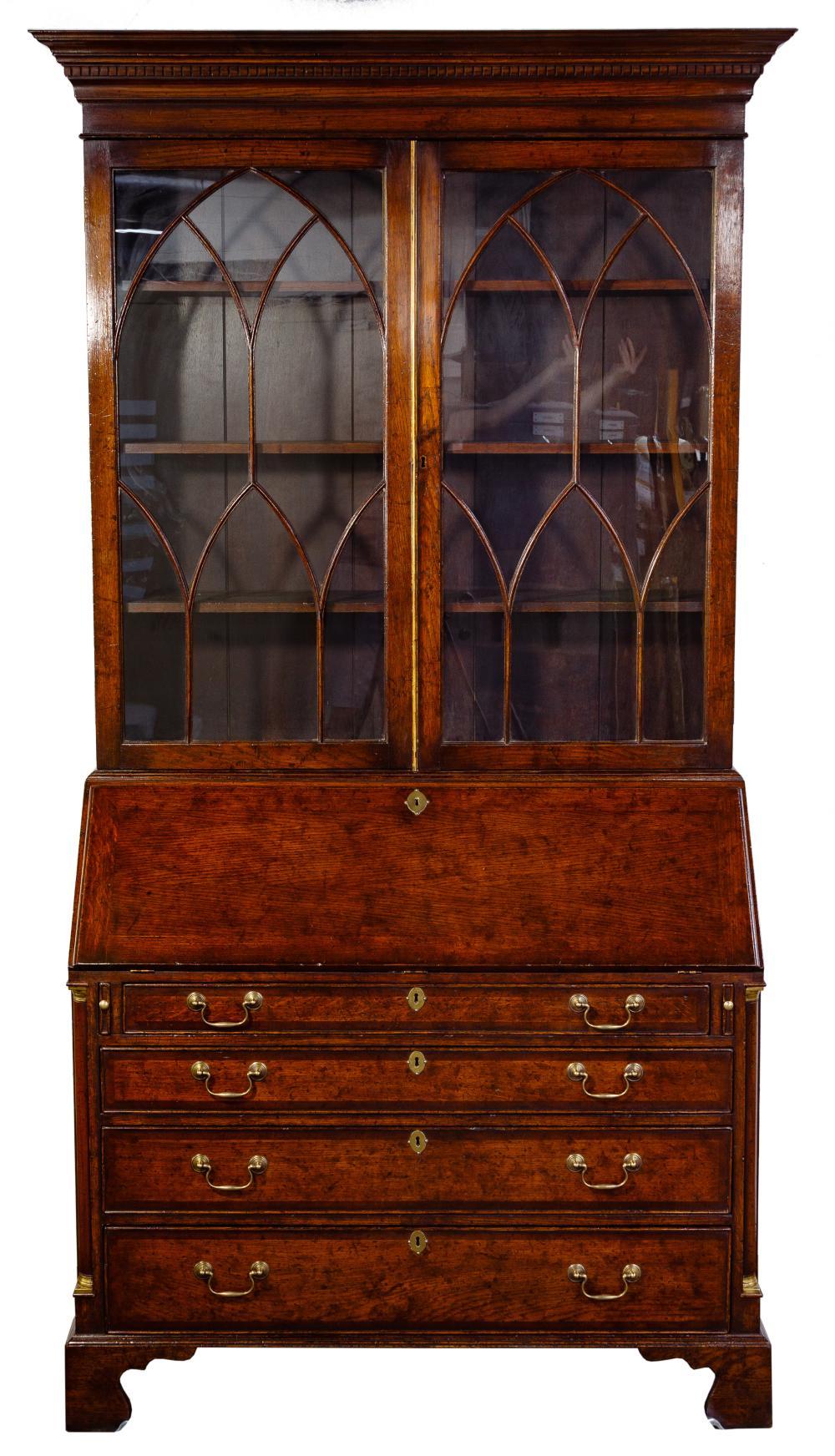 Georgian Style Oak Secretaire Bookcase