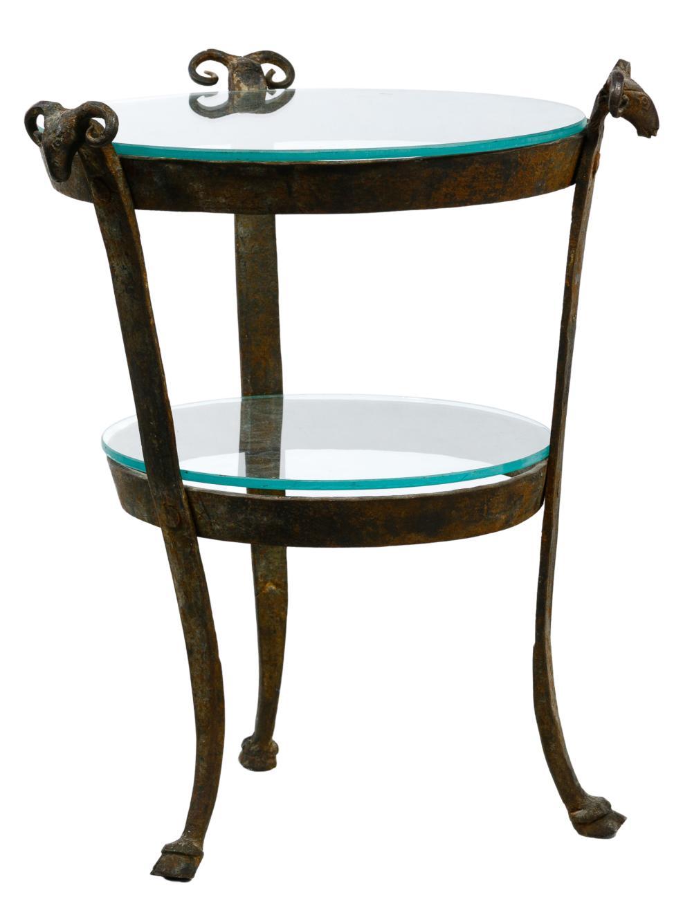Wrought Iron Ram's Head Gueridon Table