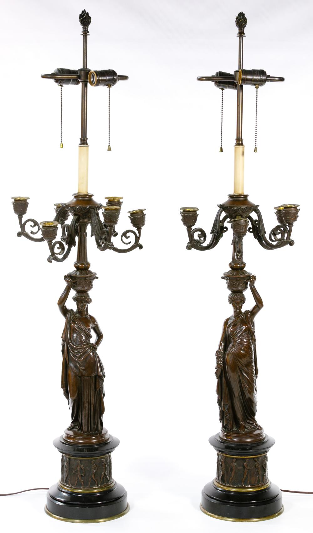 (After) Louis Valentine Elias Robert (French, 1821-1874) Bronze Figural Table Lamps