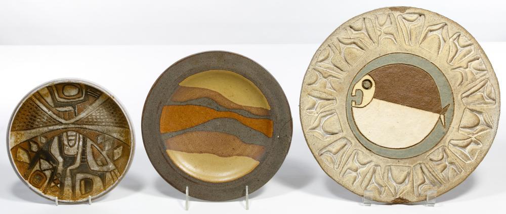 Clyde Burt (American, 1922-1981) Studio Ceramic Plate Assortment