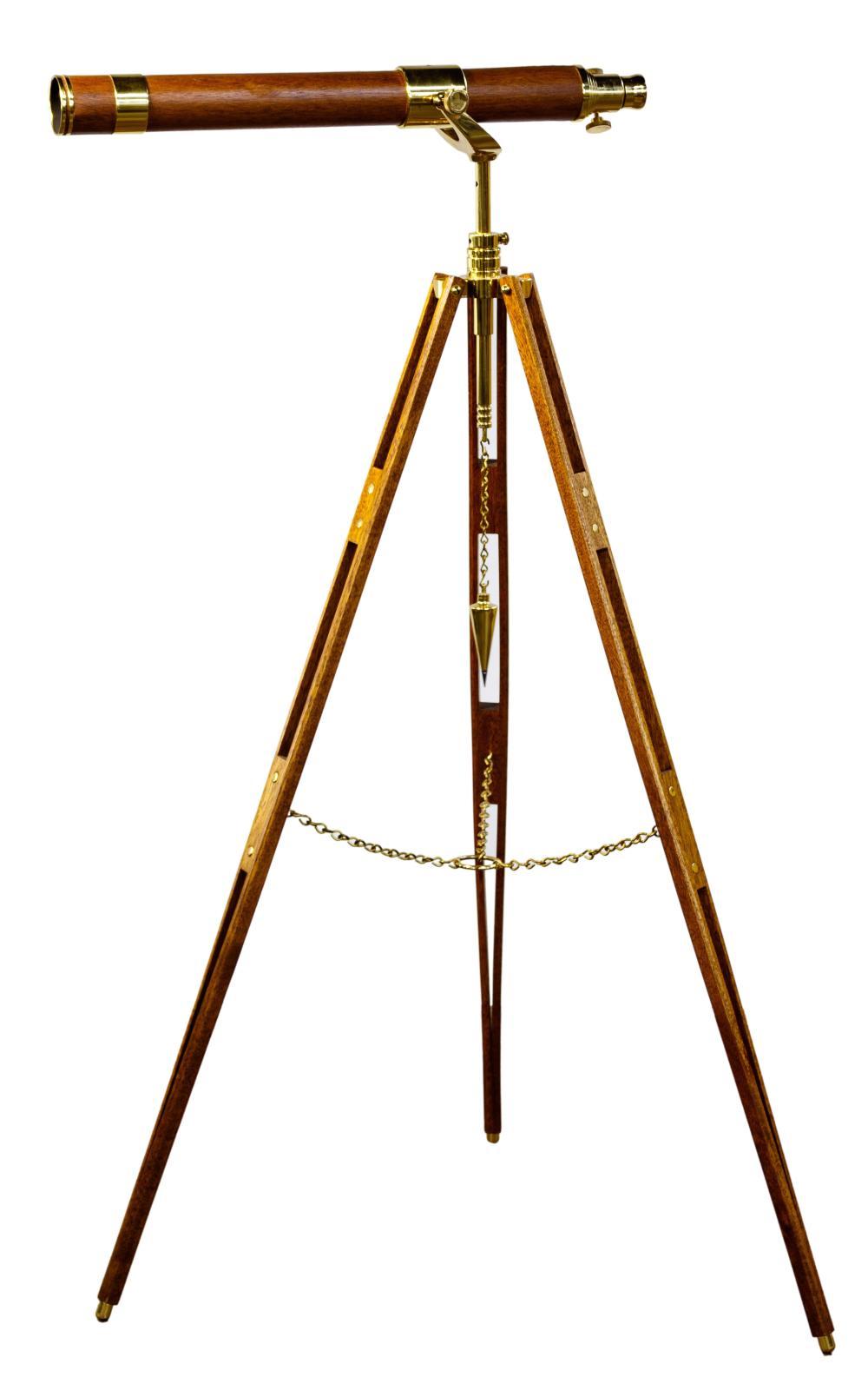 Glass Eye U.S.A Brass and Wood Telescope on Matching Tripod