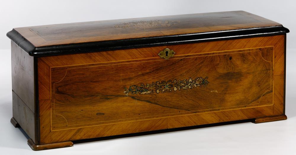 Swiss Marquetry Inlaid Music Box