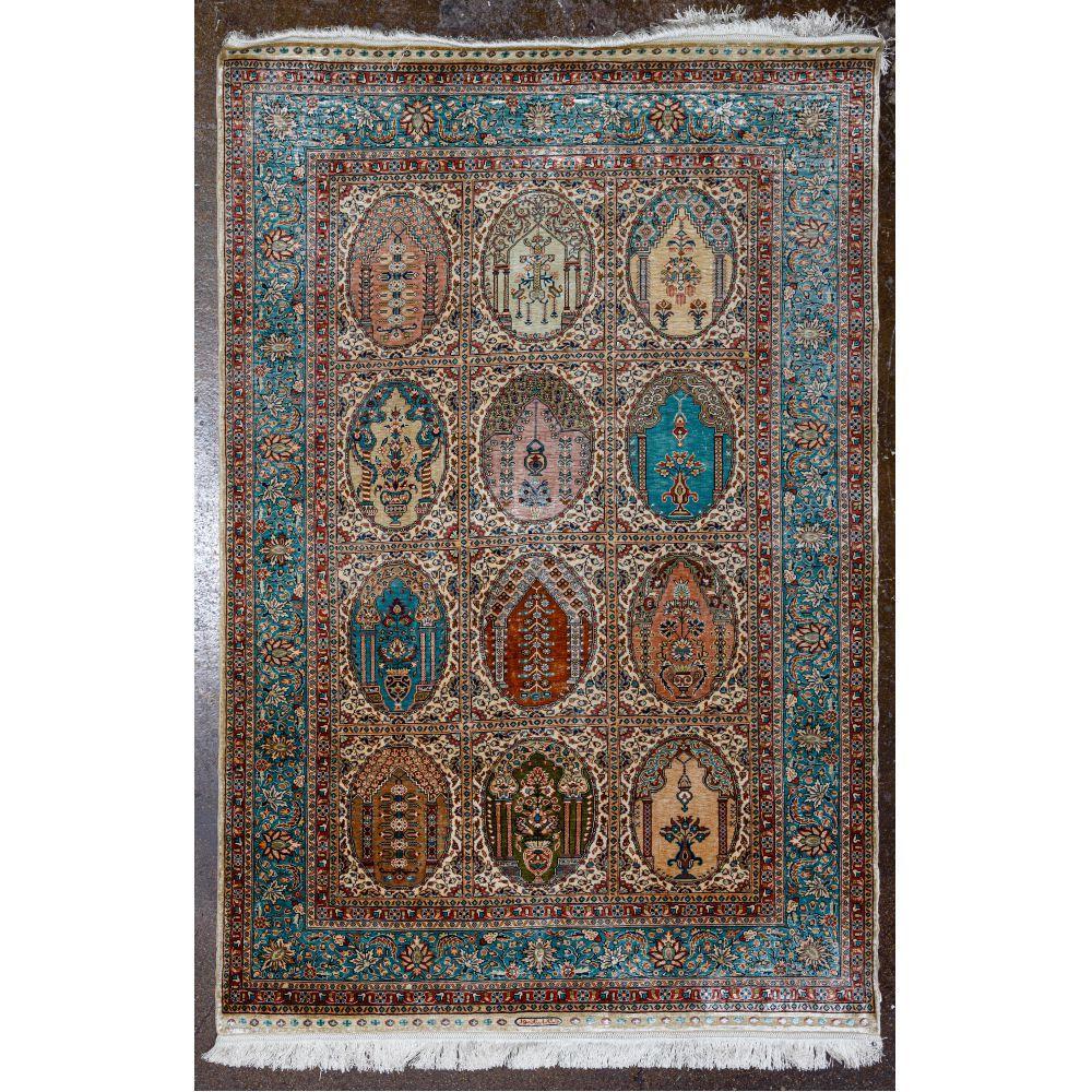 Turkish Mercerized Cotton and Silk Rug