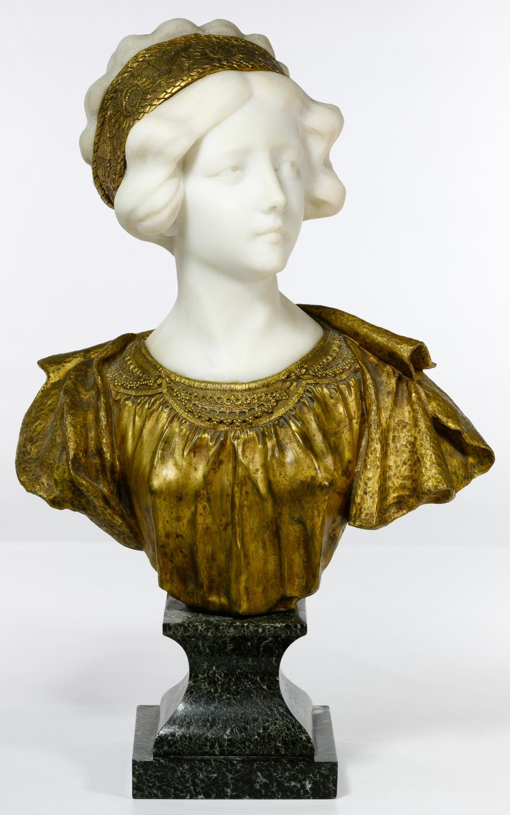 (After) Affortunato Gory (French, 1895-1925) Marble and Bronze Bust