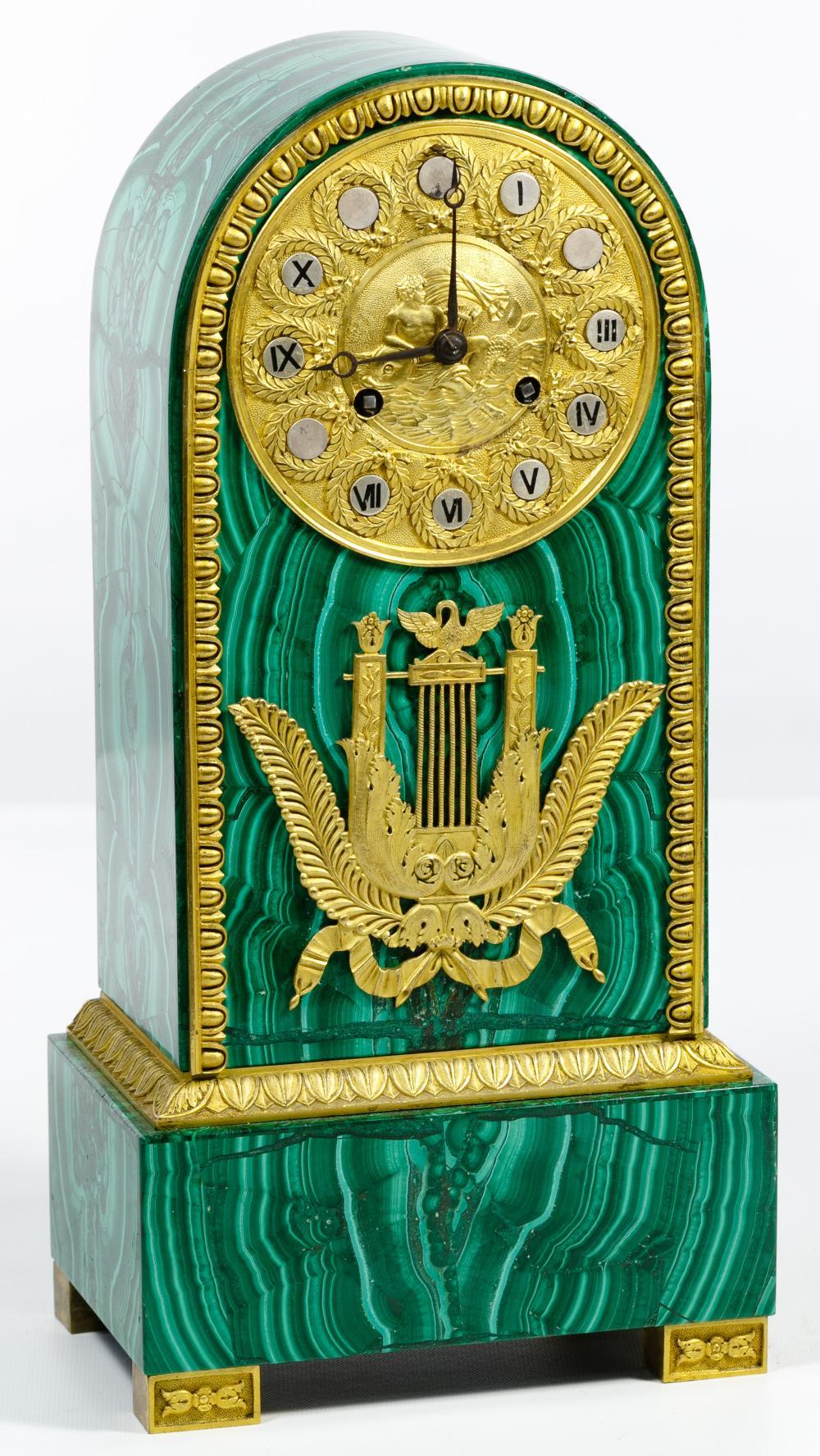 Empire Style Gilt Bronze and Malachite Mantel Clock