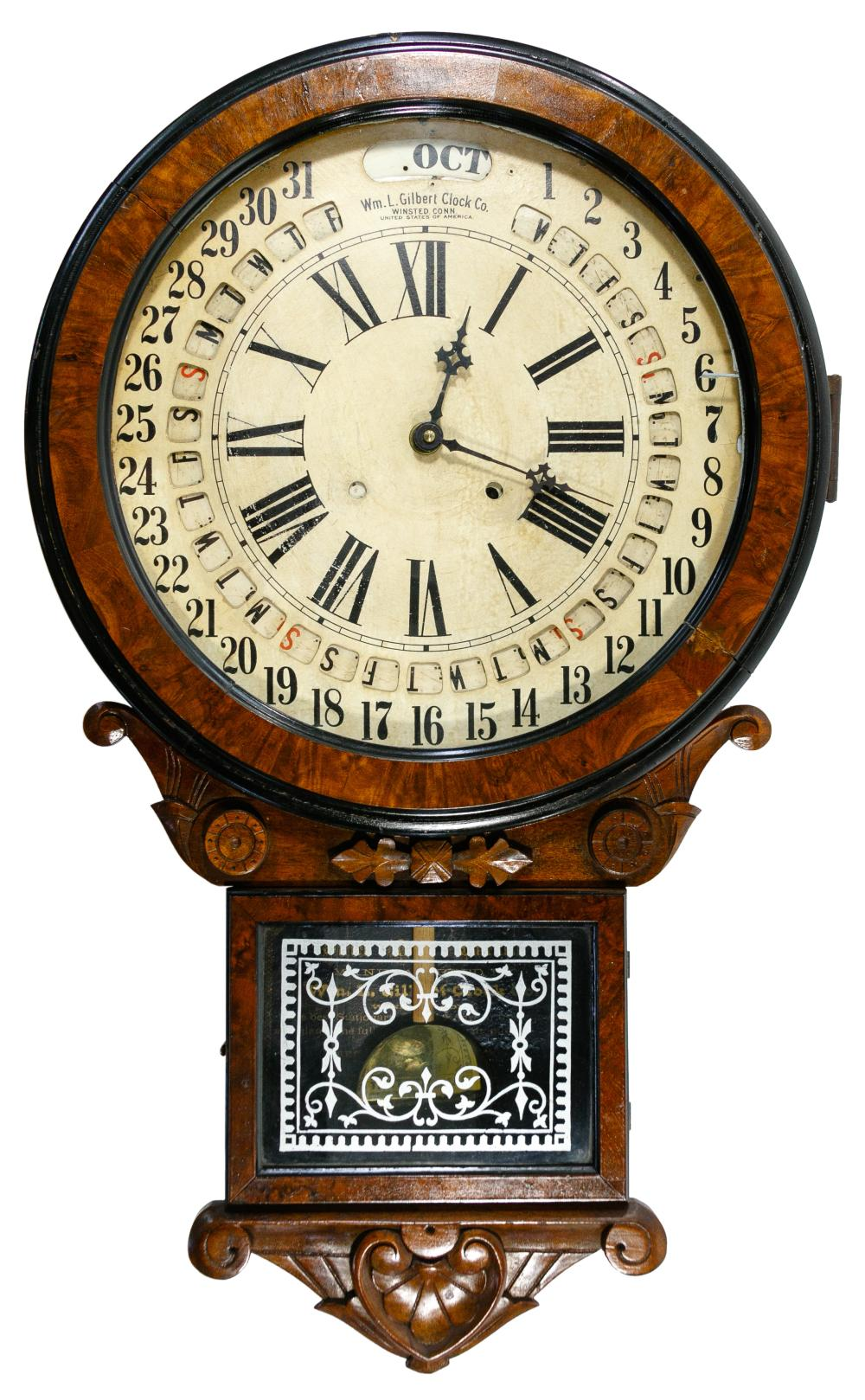 Wm. L. Gilbert Clock Company Victorian Calendar Wall Clock