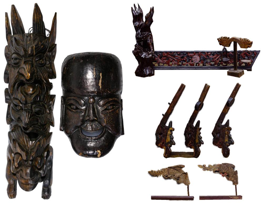 Asian Carved Wood Wall Hanging and Decorative Object Assortment
