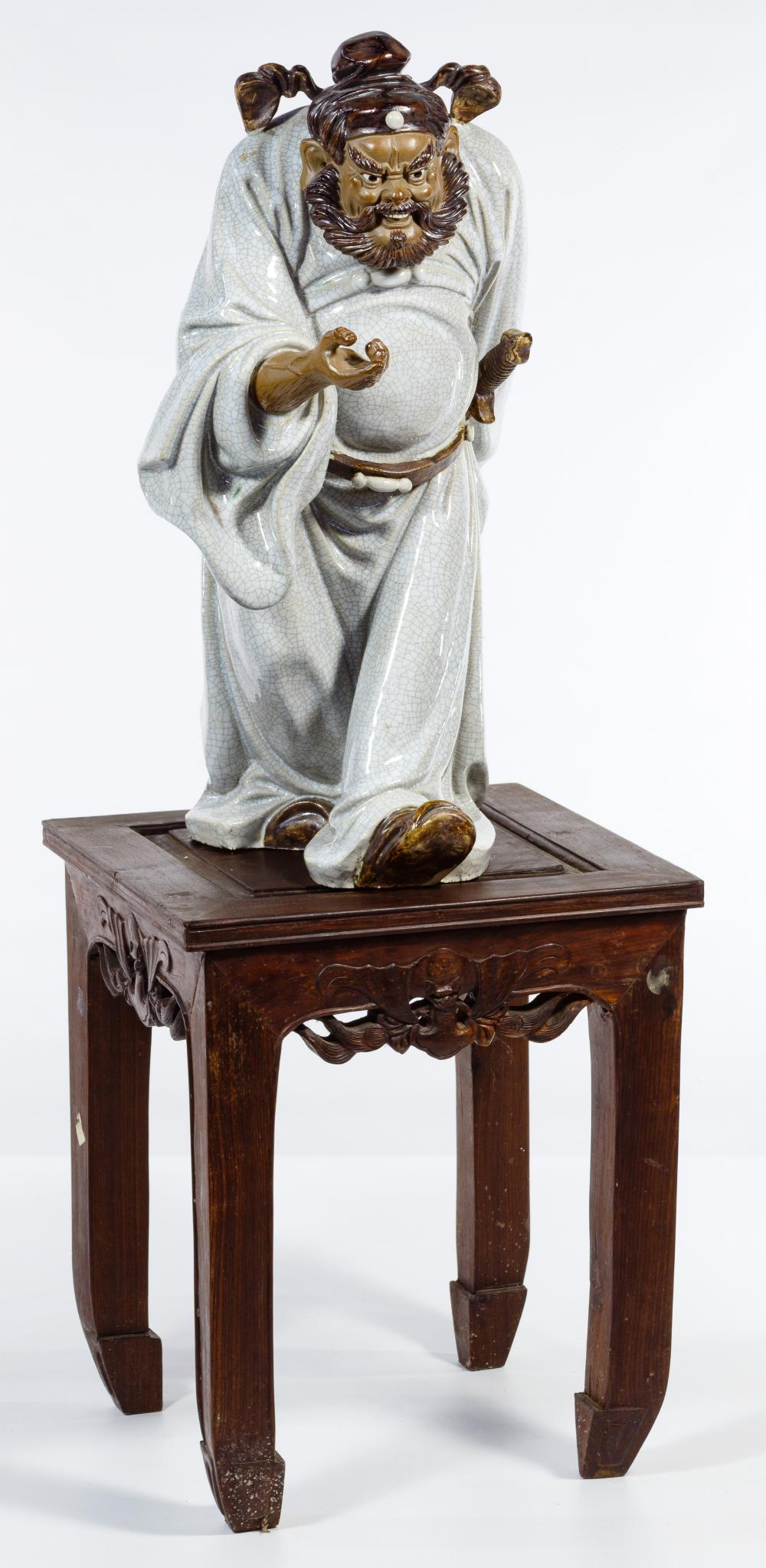 Asian Glazed Earthenware Figure and Stand