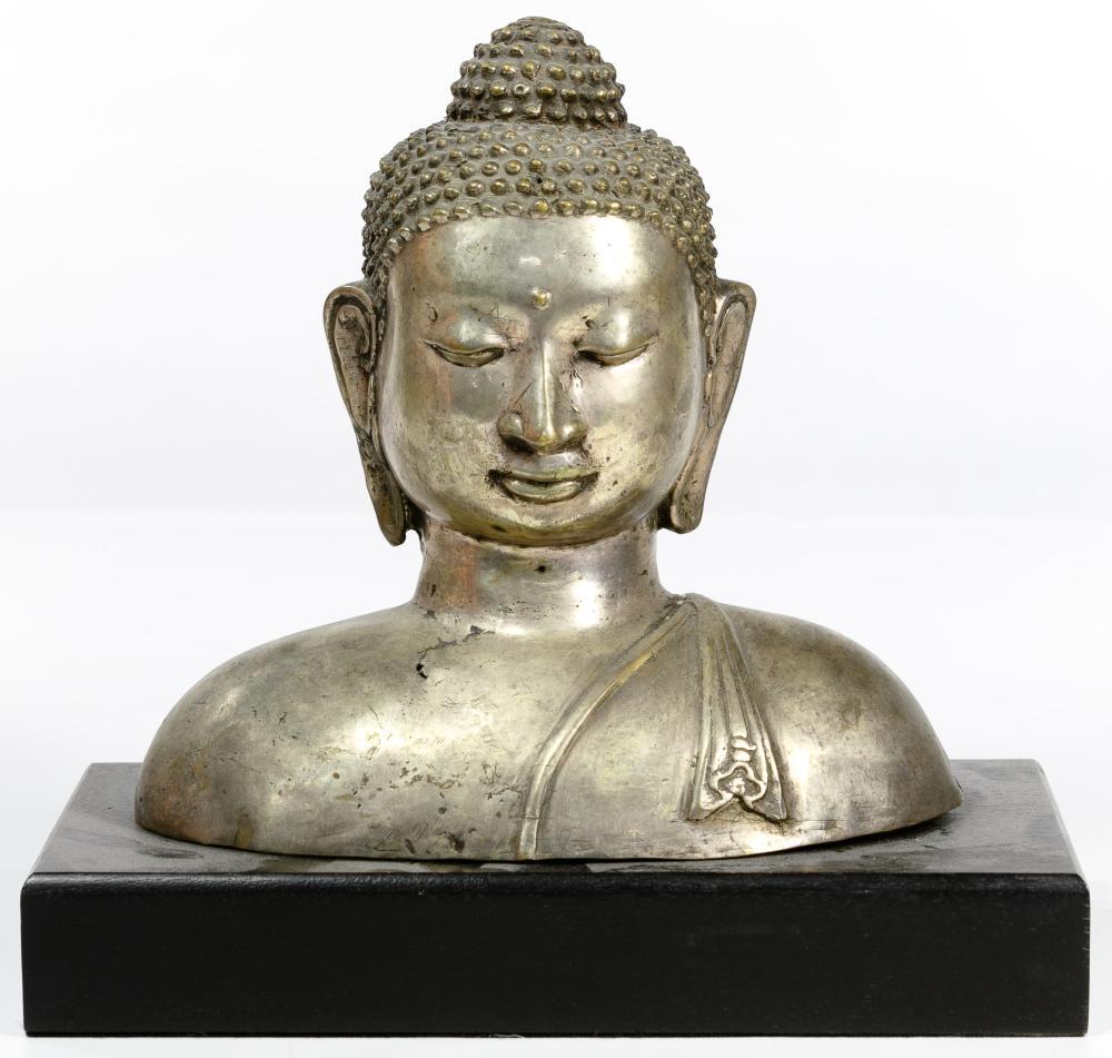 Buddha Silverplated Bronze Bust