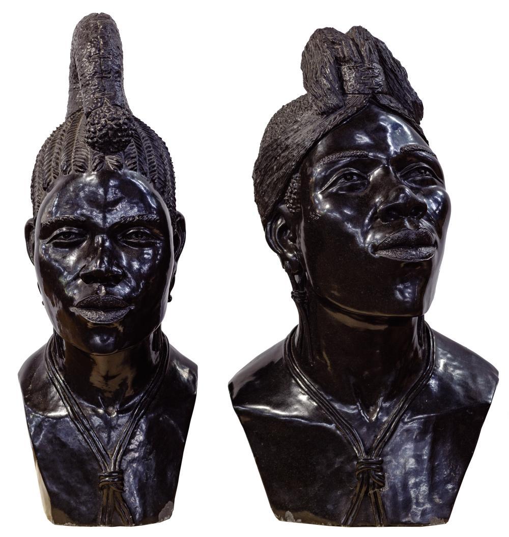 Darios Chikumbirke (Zimbabwean, 20th Century) Carved Stone Shona Busts