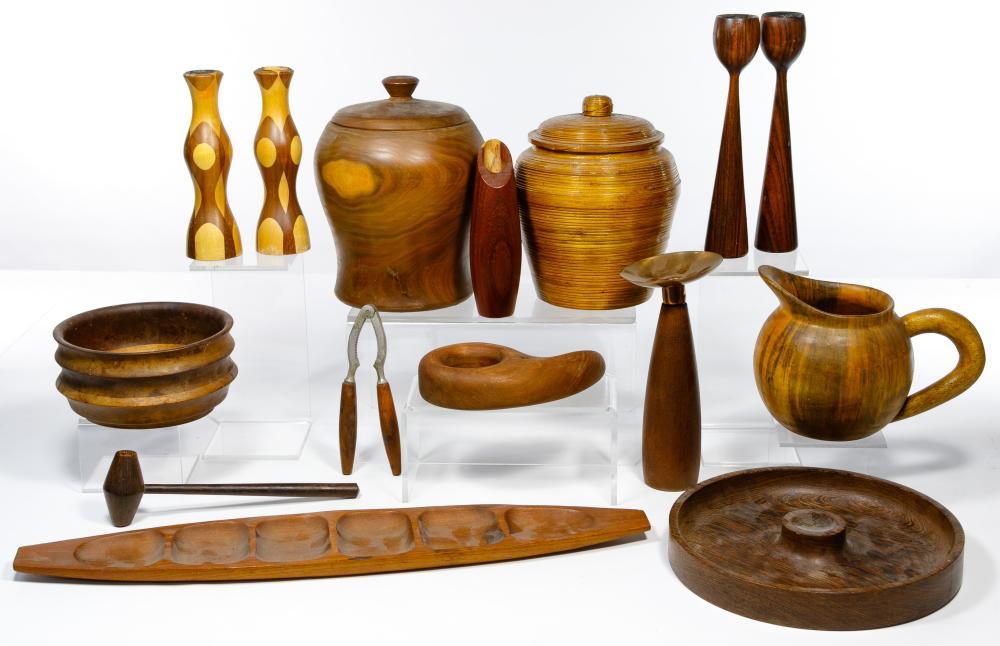 Mid-Century Wood Accessory Assortment