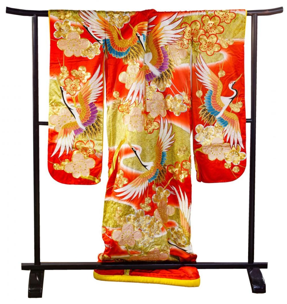 Japanese Silk Kimono with Stand