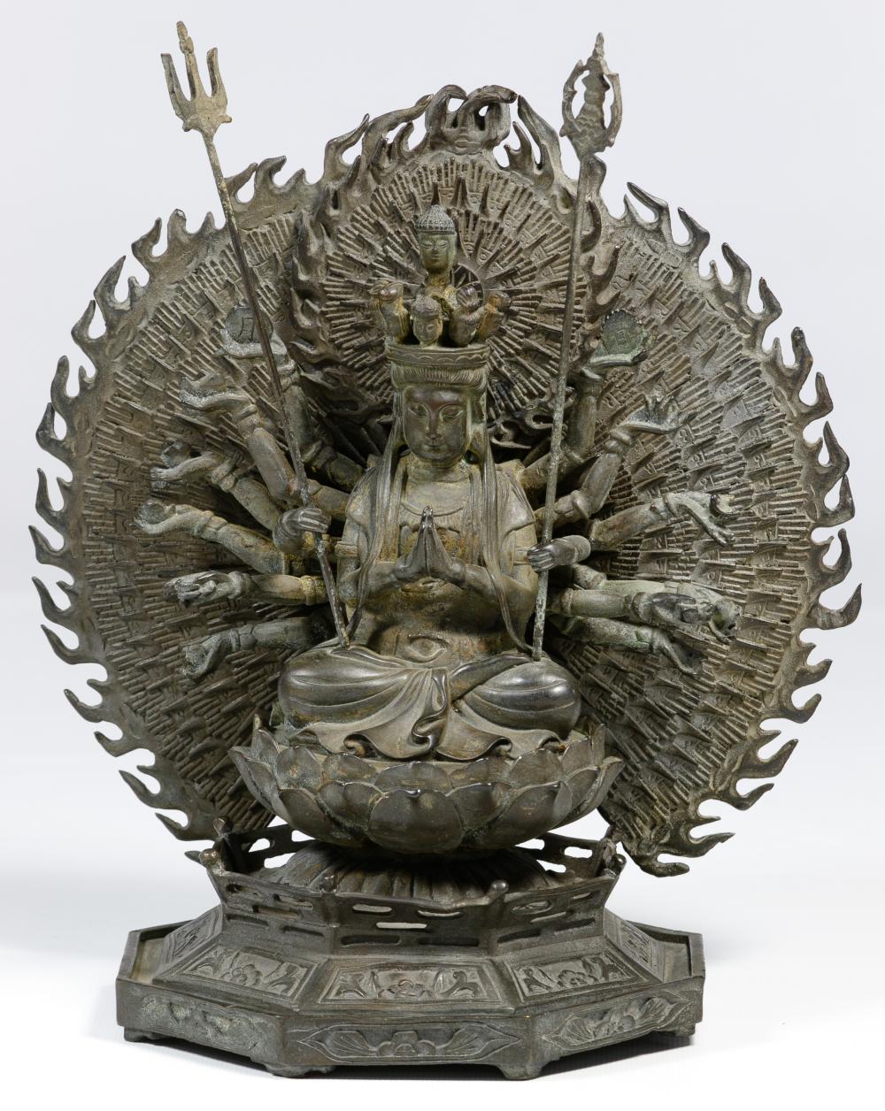 Tibetan Style Bronze 'Thousand Hands' Statue