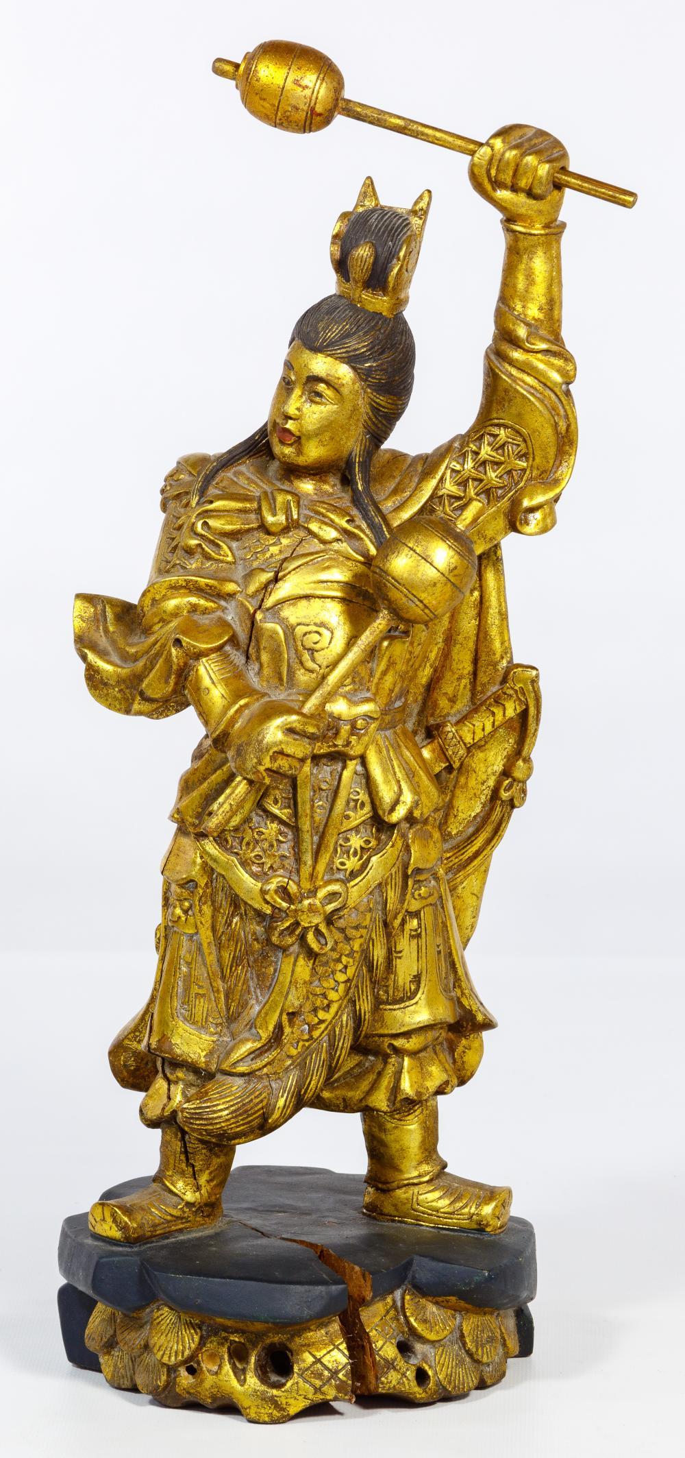 Ming Style Chinese Gilt Wood Folk Deity