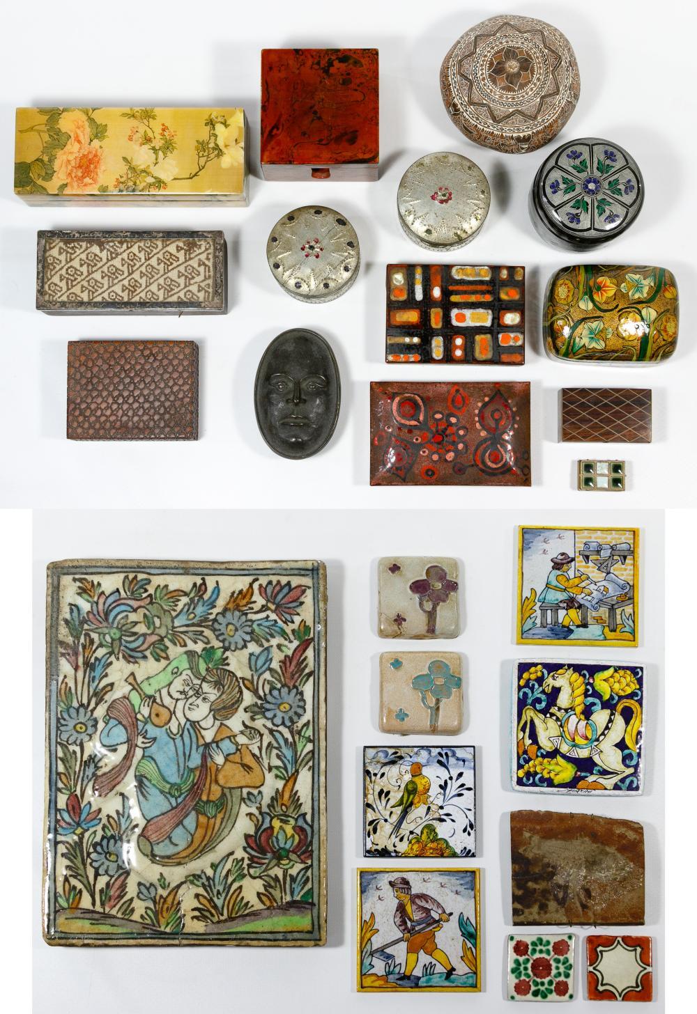 Ceramic Tile and Decorative Box Assortment