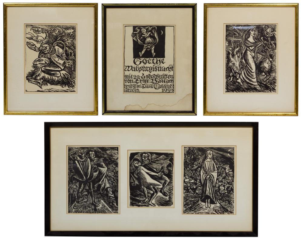 (After) Ernst Barlach (German, 1870-1938) Woodblock Print Assortment